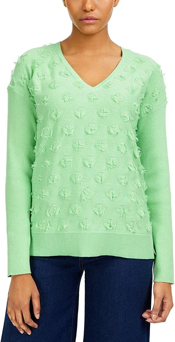 Vince Camuto Womens V-Neck Cotton Pullover Sweater Green M