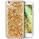 Kompatibel mit iPhone 6S Plus Hülle,iPhone 6 Plus Hülle,Glänzend Glitzer Kristall Bling Sparkle [Goldfolie] TPU Silikon Crystal Durchsichtig Handyhülle Schutzhülle für iPhone 6S Plus/6 Plus,Gold