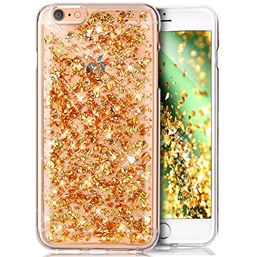 Coque iPhone 6S Plus,Coque iPhone 6 Plus,Shiny Sparkly Bling Glitter Paillettes brillant cristal [feuille d'or] Transparente Silicone Gel TPU Souple Housse Etui Coque pour iPhone 6S Plus/6 Plus,D'or