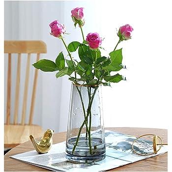 ガラス花瓶 花器ガラス フラワーベース 花瓶おしゃれ22CM Fukuka北欧風 水耕栽培 インテリア飾り 大きい花瓶 (グレー)