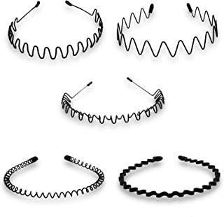 Timoo 5 PCS Metal Spring Wavy Hairband Hair Hoop, Simple Fashionable Headband Headwear Accessories for Men, Women, Black
