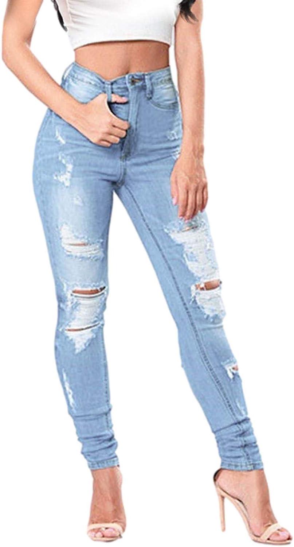 FUNEY Women's Ripped Boyfriend Jeans Cute Distressed Jeans Button Pocket Stretch Skinny Jeans Hole Wide Leg Slim Pants