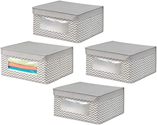 mDesign boite de rangement en tissu (lot de 4) – panier de rangement idéal pour vêtements et pour armoire – bac de rangeme...