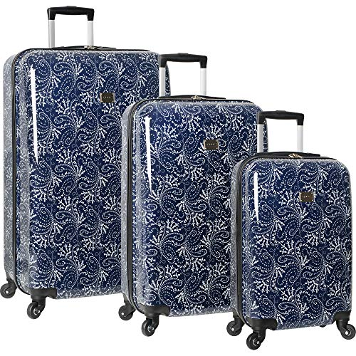 Chaps Lightweight Luggage 3 Piece Suitcase Set with Spinner Wheels-1, Navy Spring Paisley, One Size