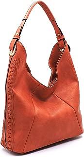 Handbag Republic Classic Hobo w/Pretty Perforated Side Detail- Rust