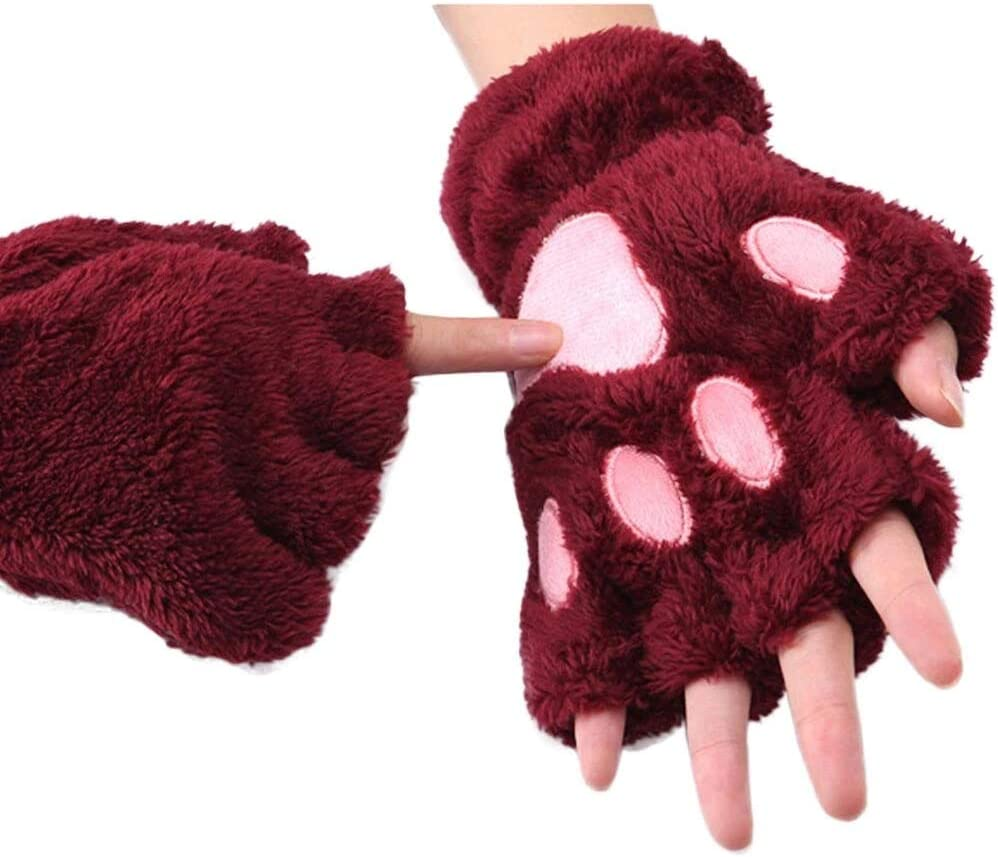 FASGION 2019 Winter Lovely Women Bear Cat Claw Paw Mitten Plush Gloves Short Finger Half Gloves Ladies Half Cover Female Gloves (Color : Red, Gloves Size : One Size)