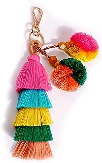 Colorful key rings Tassel Decorations for Handbags Attractive Handmade Personalized Bag Charm Key chain Women Pom Pom