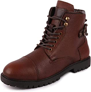 FAUSTO Men's Leather High Ankle Outdoor Boots