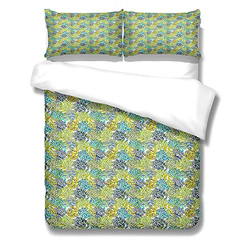 Duvet Cover Set Single-Zipper Closure with 1 Pillow cover Bedding Set Ultra Soft Hypoallergenic Microfiber Quilt Cover Sets Plant flowers-green