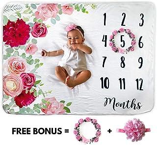 Manta mensual con diseño de hito para bebé, incluye corona floral y diadema de 1 a 12 meses, 100% forro polar orgánico, extrasuave, el mejor regalo para la ducha del bebé, telón de fondo para fotografía, foto para recién nacido