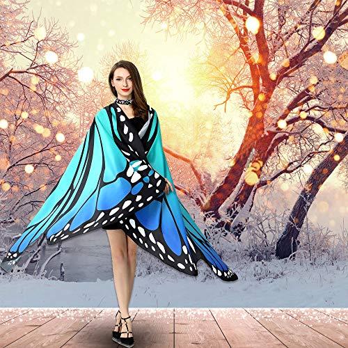 TANCUDER Damen Schmetterlingsflügel Schmetterling Kostüm Faschingkostüme Schmetterling Umhang Schal Poncho Kostüm Keine Sticks Umhang für Party Weihnachten Kostüm Cosplay Karneval Fasching(168*135cm)