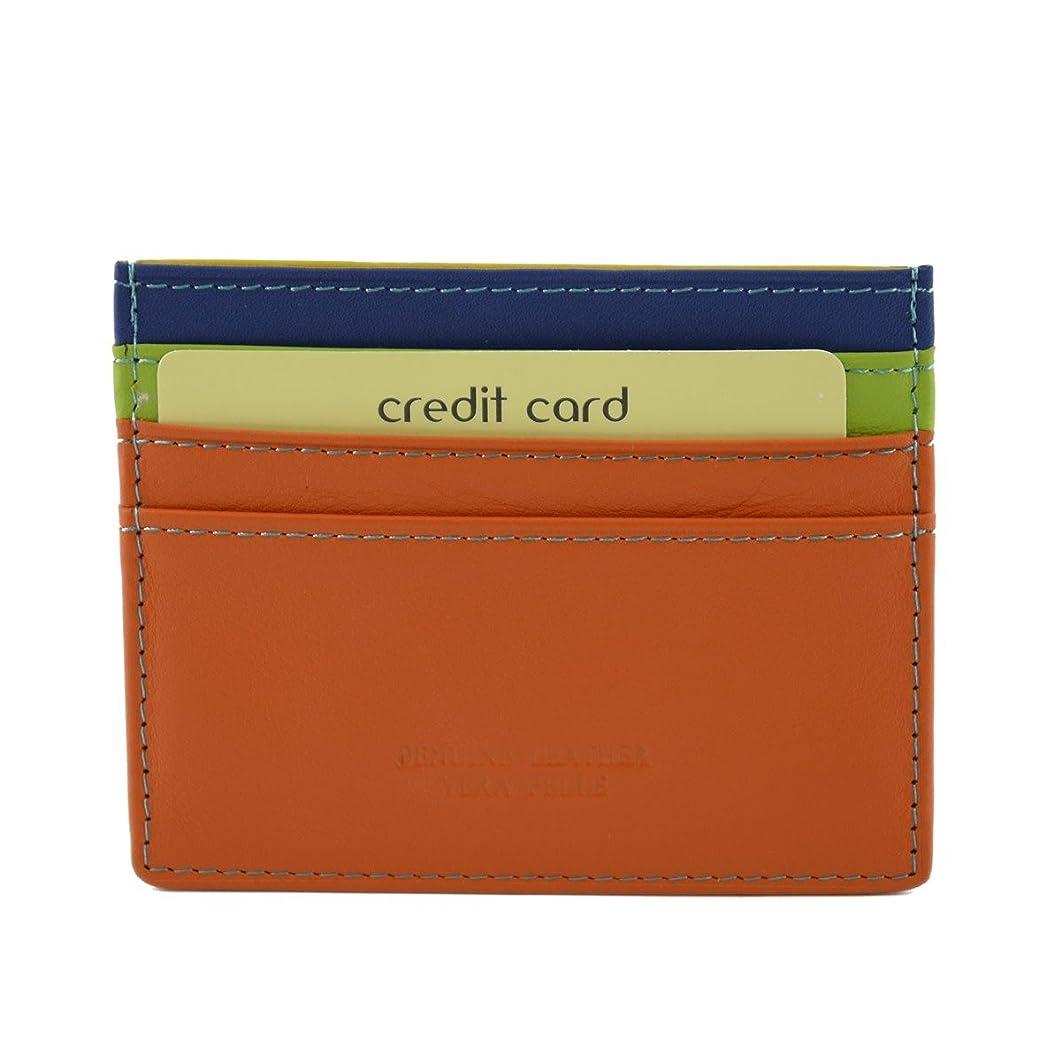 フォーマル予約音節Made In Italy Genuine Multicolor Leather Cardholder Color Orange - Accessories