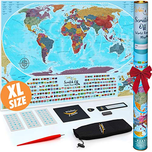 XL Scratch Off Map Of The World - Best Scratch Off World Map Big Size 36 x 24 Coin Scratch Travel World Map & All Country Flags - Vibrant Colors Wall Art Poster Gift For Travelers