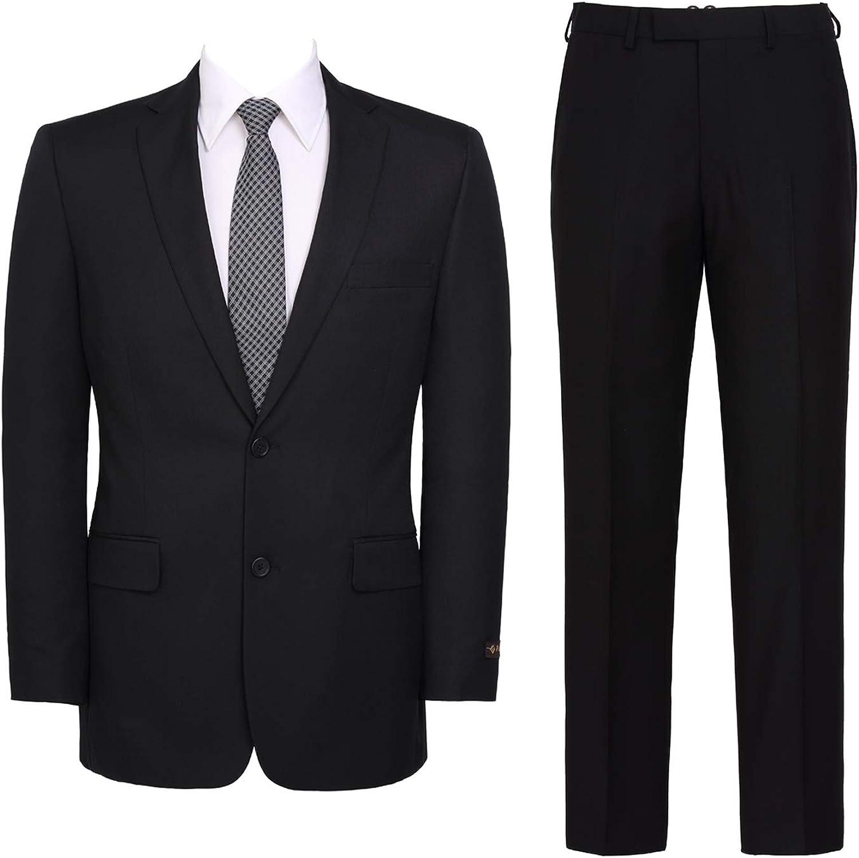 QSYJ Men's Slim Fit 2 Button Suit Jacket & Flat-Front Pants Set