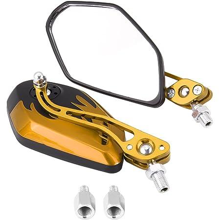 Keenso 1 Paar 8mm 10mm Universal Motorrad Rückspiegel Roller Aluminium Flamme Muster Seitenansicht Spiegel Gelb Auto