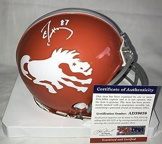 Signed Don King (Denver Broncos) Helmet - Ed McCaffrey Orange Mini Certified - PSA/DNA Certified - Autographed NFL Mini Helmets