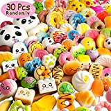 BUDI [Upgraded 30 Pcs Kawaii Squishies Super Slow Rising Jumbo/Medium/Mini Random Cake Bread Panda Bun with Phone Straps Kids Pretend Play Squishies Charms