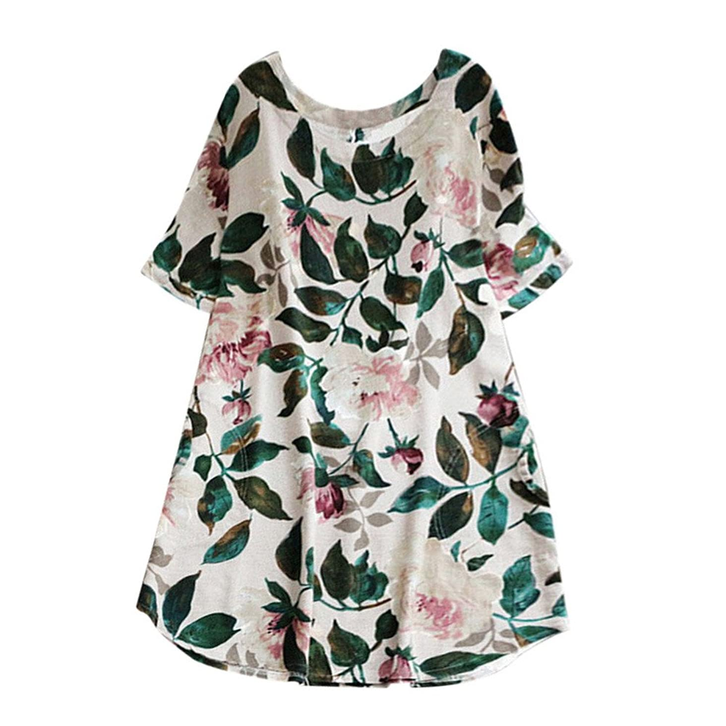 Respctful?Women Short Sleeve Floral Printed Cotton Linen Mini Dress for Summer Plus Size Party Long Sleeve Dress