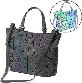 HotOne Geometric Luminous Purses and Handbags Shard Lattice Eco-Friendly  Artificial Leather Rainbow Holographic Purse 405f1892bcad2