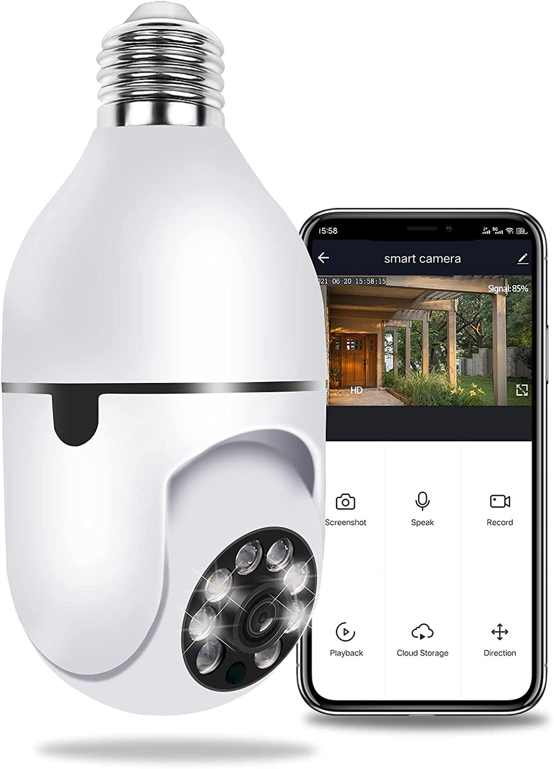 Pan Tilt Security Camera, Full-HD 1080P Wireless Wi-Fi IP Camera, Home Surveillance CCTV Cameras with Motion Detection Alarm/Night Vision/Remote Viewing