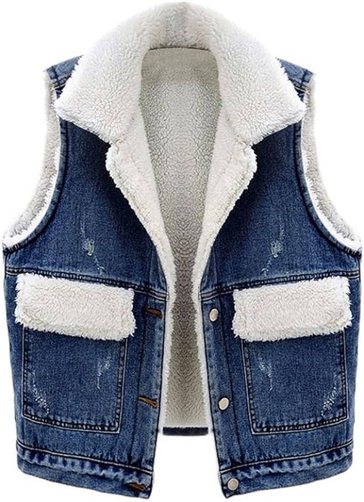 SCOFEEL Women's Loose Fit Sherpa Lined Fleece Patchwork Sleeveless Jean Jacket Denim Vests