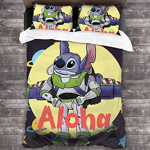QWAS Stitch - Juego de ropa de cama para niños (100% microfibra A1, 140 x 210 cm + 80 x 80 cm x 2)