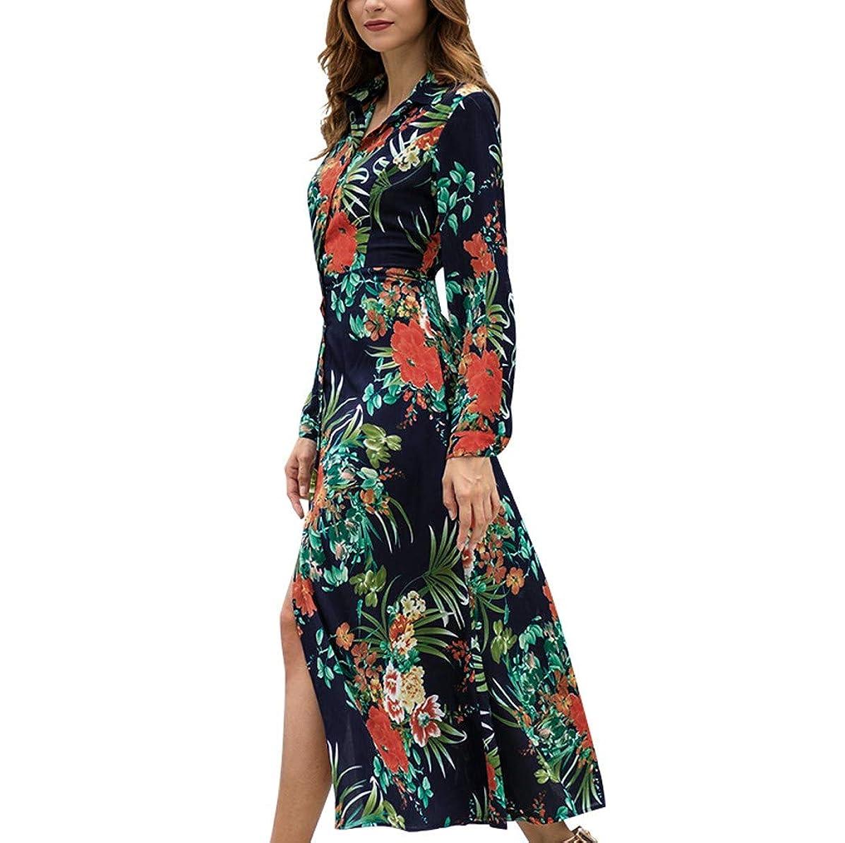 Women Elegant Shirt Dress Button Down V Neck Floral Print Maxi Dress Split High Waist Long Sleeve Party Dress by Lowprofile