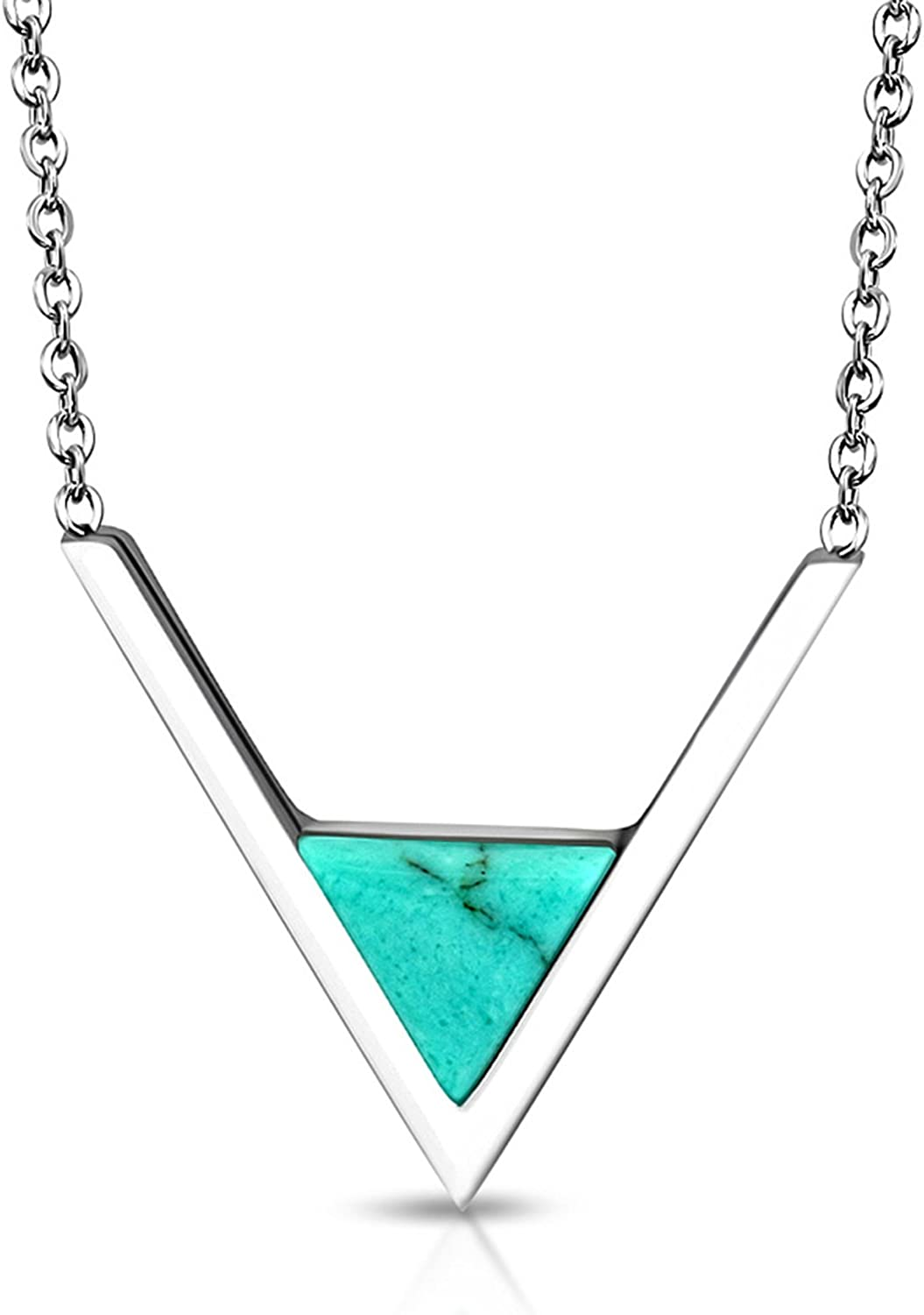 Comfort Zone Studios Stainless Steel Classic V Triangle Turquoise Stone Charm Link Chain Necklace Pendant