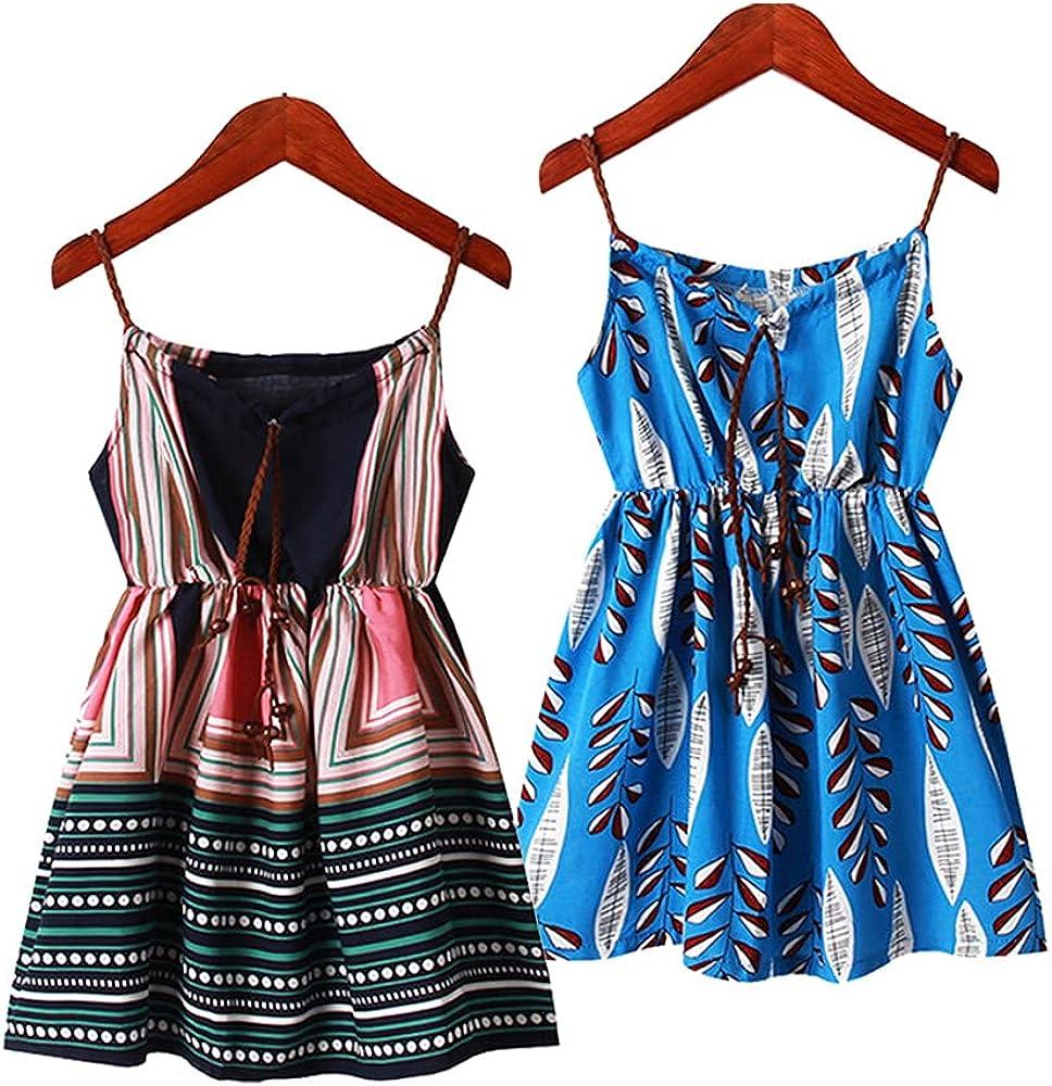 VELWINGS Girl Summer Cami Dress Casual Sleeveless Tank Cotton Spaghetti Strap Beach Sundress 2Pack