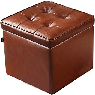 lquide Storage Stool Simple Stylish Brown Storage Stool Change Shoe Stool Upholstered Footrest Practical Ottoman Cube Box PU Footstool Single Seat with Removable Lid Max.120KG Bed End Stool
