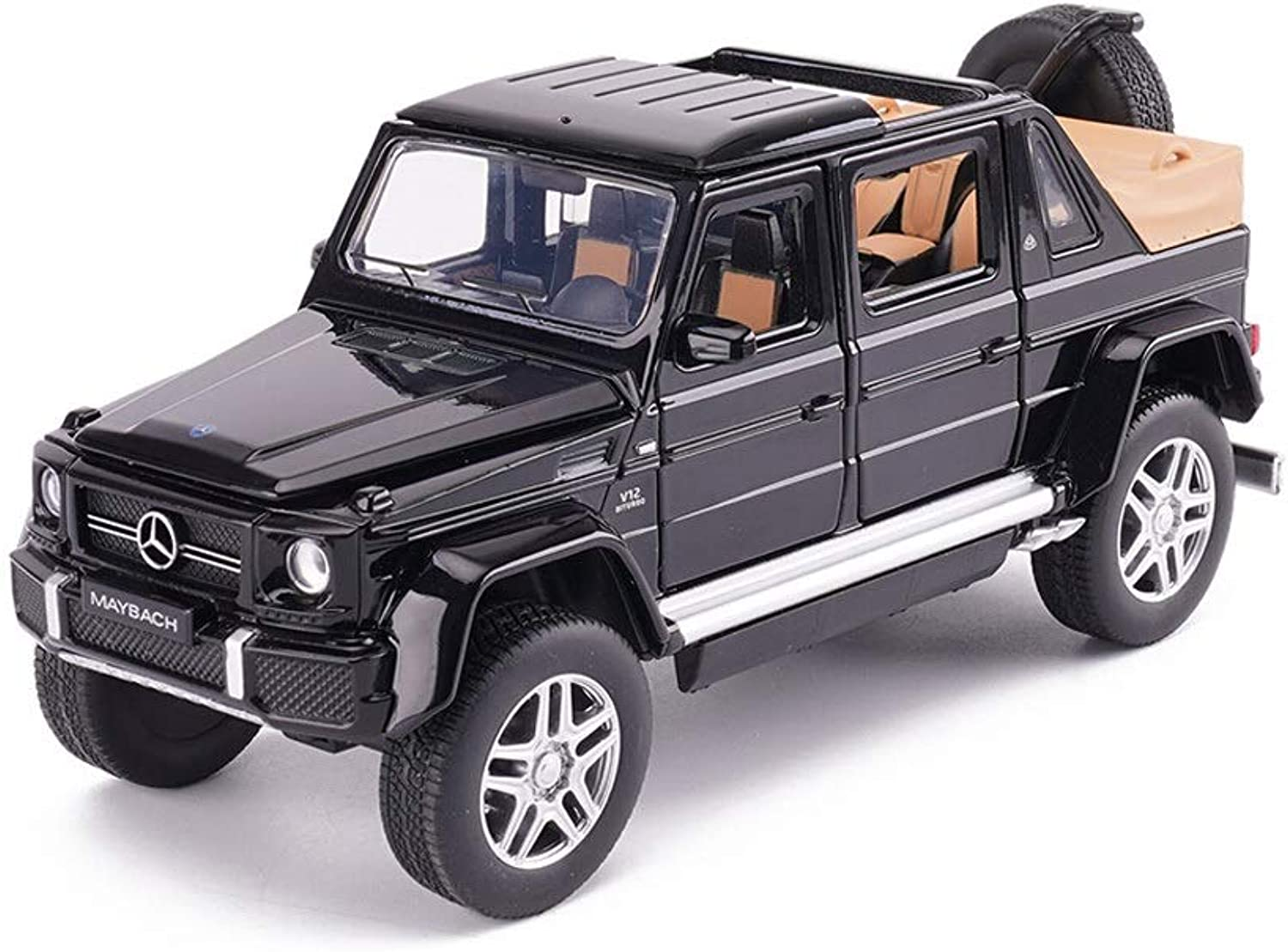 SHLINCar model DieCasting Car Alloy Car Model Maybach G650 Congreenible Model 1 32 Pull Back Sound and Light Car Model Gift for Boys Toddlers Kids (color   Black)