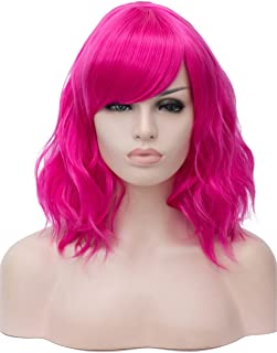 """TopWigy Rose Red Cosplay Wig Medium Length Side Part Bang Curly Body Wave Colorful Synthetic Hair Wigs Costume Party Bob Full Women Wig (Rose Red 14"""")"""