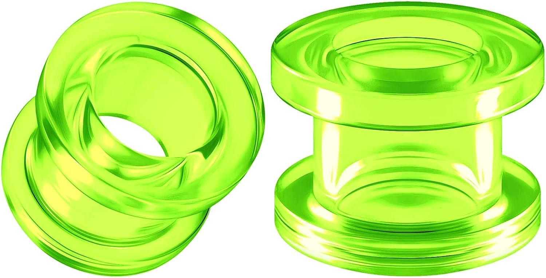 BIG GAUGES Pair of Green Acrylic Flesh Tunnels External Piercing Jewelry Stretcher Screw-fit Ear Plugs Earring Lobe