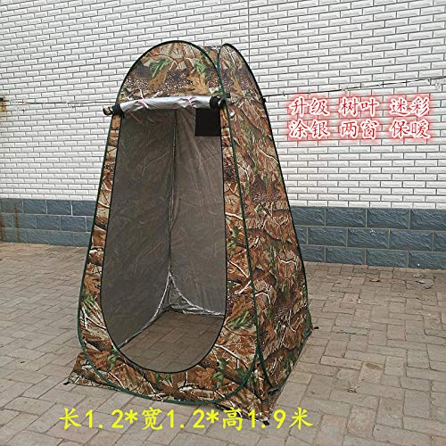 LIKEJJ - Tienda de campaña para orinal, baño al aire libre, baño para adultos engrosamiento para cuarto de baño, cobertor para baño, simple portátil, vestidor, cambiador de ropa, pesca en campo, protección UV, 1,2 m, dos ventanas