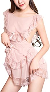 Women's Vintage French Maid Costume Cosplay Lace Backless Sleepwear Lingerie Dress with G-string