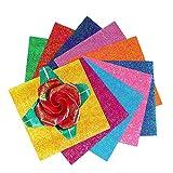 Origami - Papel para origami (150 hojas, doble cara, 10 colores vivos, para proyectos de arte y manualidades, papel brillante origami, papel plegable con purpurina, de manualidades, para niños