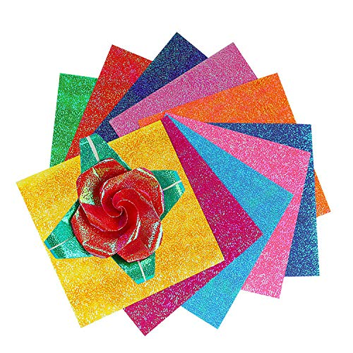 longyisound Origami Papier,150 Blatt doppelseitiges,Origami Papier in 10 lebhaften Farben für Kunst- und Bastelprojekte,glänzendes Origami-Papier, Glitzer-Faltpapier für Bastelprojekte für Kinder