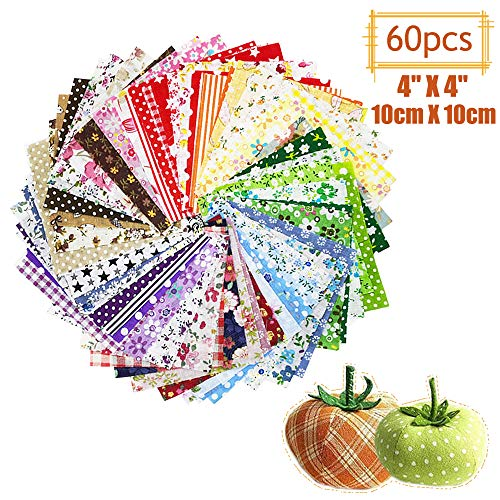 "60 Pcs 4"" x 4""(10cm x 10cm) Assorted Craft Fabric Bundle Squares Patchwork Fabric Sets for DIY Sewing Scrapbooking Quilting Dot Pattern"