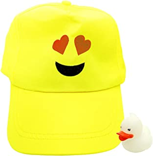 Emoji Baseball Cap Emoticon Hats for Kids, Boys and Girls with Mini Glow in The Dark Rubber Duck