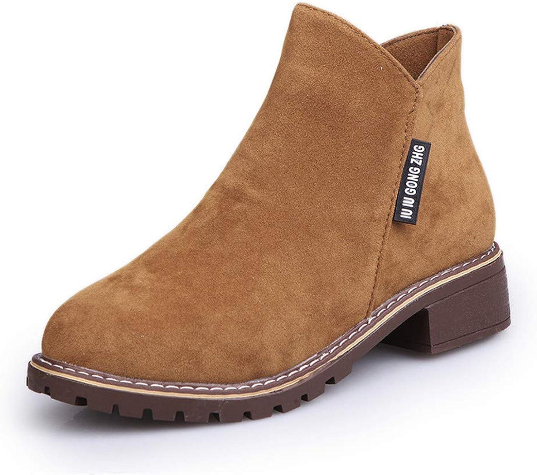 Qiusa High Heels Einzelne Stiefel Damen Martin Stiefel Stiefel Stiefel Student Retro Low Heel Rundkopf Damenschuhe Stiefel, braun, 40 (Farbe   -, Größe   -)  6edd8e