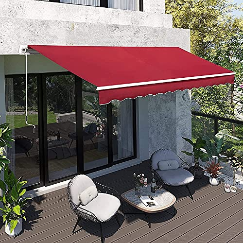 HTDHS Sombrilla retráctil al Aire Libre, Agua UV/Agua Resistente al Calor Puerta de Ventana PERGOLA, con manivela Manual Mango Patio Tarjetas de toldo 2x1.5m