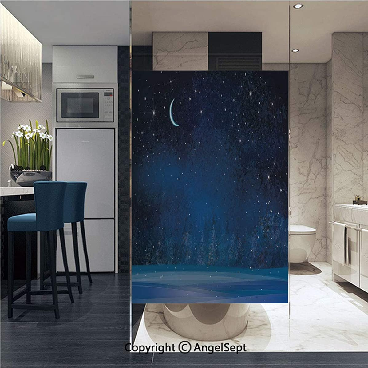 AngelSept Non-Adhesive Privacy Window Film Winter Wonderland at Night Snowy Woodland Magical Fantastic Forest Nature Scenery Door Sticker Glass Film 22.8 in. by 35.4in. (58cm by 90cm),Blue Indigo