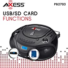 AXESS PB2703 Portable MP3/CD Boombox with AM/FM Stereo, USB, SD, MMC (Black)