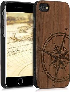 kwmobile Funda para Apple iPhone 7/8 - Carcasa de [Madera] - Case Trasero Protector [Duro] con diseño de Aguja magnética