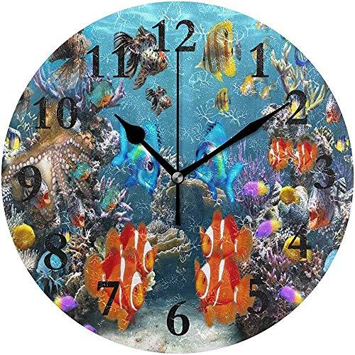 Meili Shop Tropischer Fisch 3D-Bildschirmschoner Runde Wanduhr Home Office School Dekorative Uhr Kunst