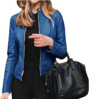 Generic Womens Leather Jackets Motorcycle Bomber Biker Zipper Leather Overcoat Outwear