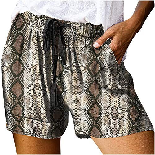Whyeasy Womens Casual Printed Drawstring Pocketed Shorts Summer Loose Athletic Sports Short Pants(Coffee,L)