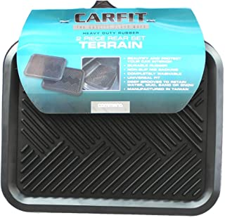 Carfit 4560281 Terrain Rubber Rear Car Floor Mat 2 Piece Set, Black, Set of 2
