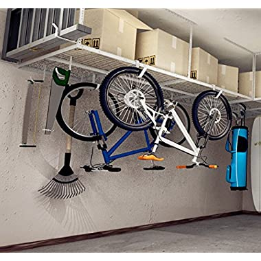 FLEXIMOUNTS 4x8 Overhead Garage Storage Rack Adjustable Ceiling Storage Rack Heavy Duty, 96  Length x 48  Width x (22''-40  Ceiling Dropdown), White