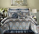 Perfect Home 9 Piece Angelo Decorator Upholstery Quality Jacquard Scroll Fabric Complete Master Bedroom Comforter Set and pillows Ensemble, King, Blue